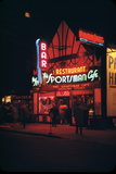1945: Neon Lights Outside the Sportsman Cafe on 236 West 50th Street at Night  New York  NY