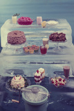 View of a Variety of Desserts Arranged on Blocks of Ice  1960