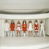 Models Wearing Red and White Ready-To-Wear Fashions Designed by Andre Courreges  1968