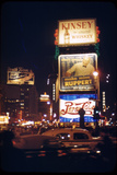 1945: Times Square at Night with Traffic and Lit Billboards  New York  Ny