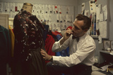 Fashion Designer David Crystam Working on Garments for David Carystal Inc  New York  NY  1960