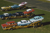 Elevated View of the 1954 Line of Ford Fairlaine Automobiles