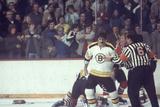 Nhl Boston Bruin Player Derek Sanderson in a Brawl Against Chicago Black Hawks