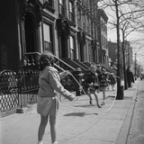 Children Jump Roping on Sidewalk Next to Brooklyn Brownstones  NY  1949