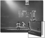 Boston Red Sox Player Ted Williams  While Watching Pitcher Warm-up Catcher Sherm Lollar