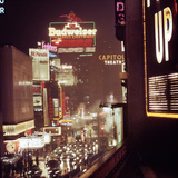 1945: Broadway Ave with Traffic and Neon Billboards Advertising Budweiser  New York  NY