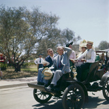 Walt Disney Riding on Automobile at Disneyland Anaheim  California 1955