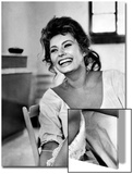 Actress Sophia Loren Laughing While Exchanging Jokes During Lunch Break on a Movie Set