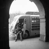 Delivery Truck Driver Sits with His Coca Cola Truck During His Route  France  1950