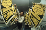 Yale's Zero Population Growth President William Ryserson Hanging Posters to Dry in Bathroom  1970