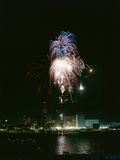 July 4  1959: View of a Fireworks Display Above the Detroit River  Detroit  Michigan