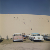 Tourists in Bathing Suits by Parked Cars and Climbing the Sleeping Bear Sand Dunes  Michigan  1961