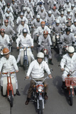 Soichiro Honda  Founder of Honda Corporation  Riding Motorcycles with Workers  Tokyo  Japan  1967
