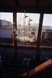 Glass Suncatcher  in the Form of a Three-Masted Ship  in Floating Home  Sausalito  CA  1971