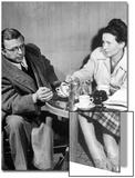 Philosopher Writer Jean Paul Sartre and Simone de Beauvoir Taking Tea Together