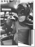 "Batman Adam West and ""Robin"" Burt Ward in Bat Mobile  on Set During Shooting of Scene"
