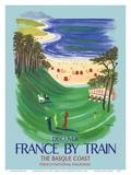 Discover France by Train - The Basque Coast - French National Railways Reproduction d'art par Bernard Villemot