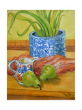 Blue and White Pot  Jug and Pears