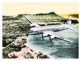Over Oahu  Hawaii - Pan American World Airways -Diamond Head Crater  Waikiki Beach