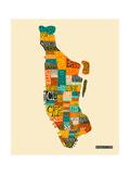 Manhattan Typographic Map Reproduction d'art par Jazzberry Blue