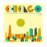 Ligne d'horizon de Chicago Reproduction d'art par Jazzberry Blue