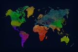 World Map Watercolor (Dark)