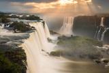 Iguazu Falls Waterfall at Sunset