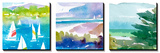 Sailboats and Lake I Triptych Tableau multi toiles