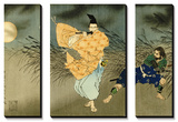 A Triptych of Fujiwara No Yasumasa Playing the Flute by Moonlight