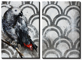 Two of a Feather - Grey Bird Tableau multi toiles par Sydney Edmunds