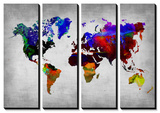World Watercolor Map 12 Tableau multi toiles par NaxArt