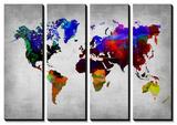 World Watercolor Map 12 Tableau multi toiles par NaxArt