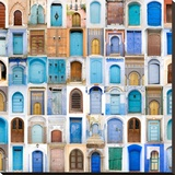 Very Old, Blue And Golden Doors Of Morocco Tableau multi toiles par Charobna
