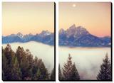 Moonlight and Foggy Snake River Overlook, Grand Teton Tableau multi toiles par Vincent James
