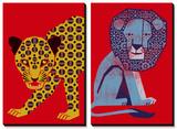 Mosaic Leopard and Petite Roi Tableau multi toiles