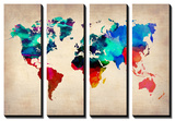 World Map in Watercolor 1 Tableau multi toiles par NaxArt
