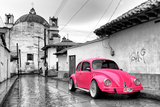 ¡Viva Mexico! B&W Collection - Hot Pink VW Beetle Car in San Cristobal de Las Casas